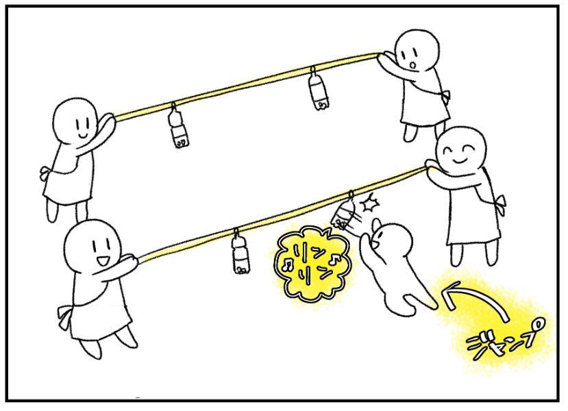 ジャンプして縄についているペットボトルにたっちして遊ぶ3歳児クラスのサーキット